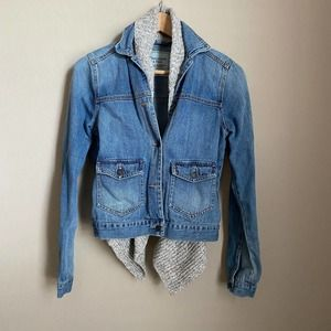 Abercrombie & Fitch Denim Jacket Built In Scarf